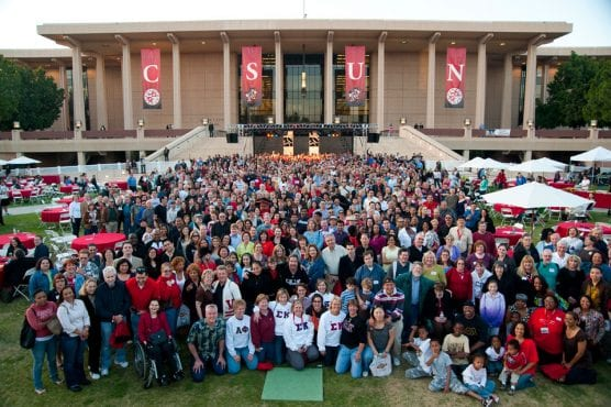 Thousands of alumni and friends of the university are expected for CSUN's 60th Anniversary Grand Reunion on Saturday, Oct. 13. Thousands turned out 10 years ago for the 50th reunion, above. Photo by John Dubois.