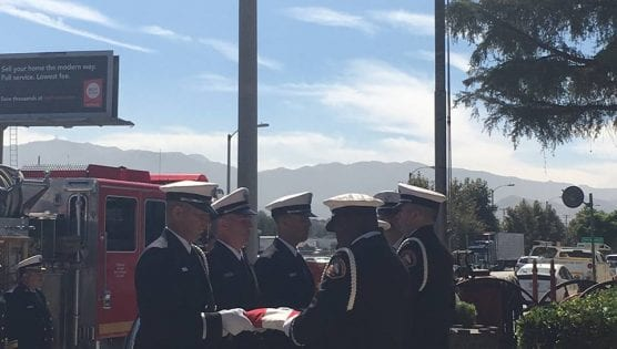 A flag ceremony was held at Fire Station 73 in Newhall honoring the life and memory of Los Angeles County Fire Department Captain Wayne Habell on Aug. 24, 2018.