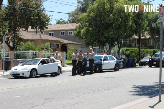 A man suspected of multiple violent crimes was arrested in Newhall Friday afternoon. Photo: Ryan Gilley/Two8Nine Media.