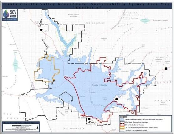 Map of Santa Clara River Valley East Sub-basin groundwater in the Santa Clarita Valley. pfas