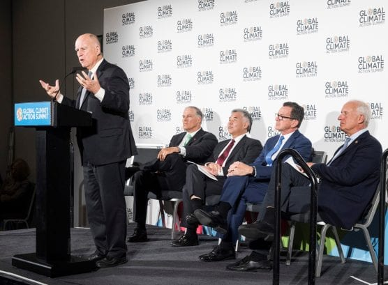 Governor Jerry Brown gives remarks alongside U.S. Climate Alliance governors in San Francisco on Sept. 13, 2018.