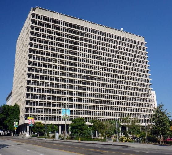 The Clara Shortridge Foltz Criminal Justice Center in downtown Los Angeles, California. Photographed by user Coolcaesar on October 11, 2014.