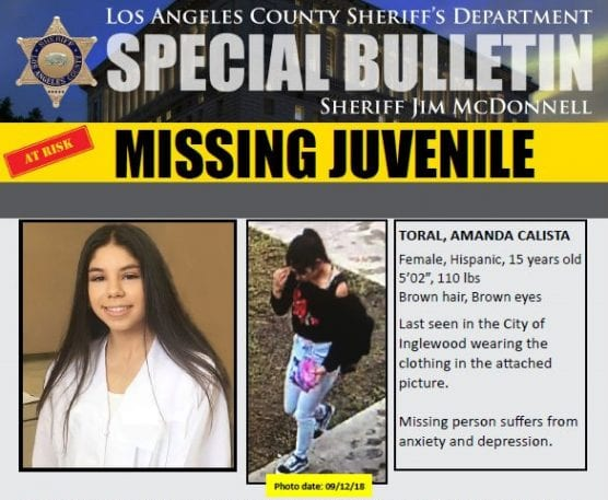 Amanda Calista Toiral is missing.