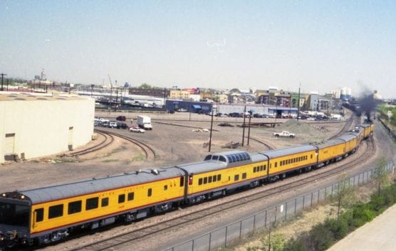 Union Pacific steam engine 844 at Union Station with a special excursion train.   Photo: Thorne Enterprises/WMC 2.0