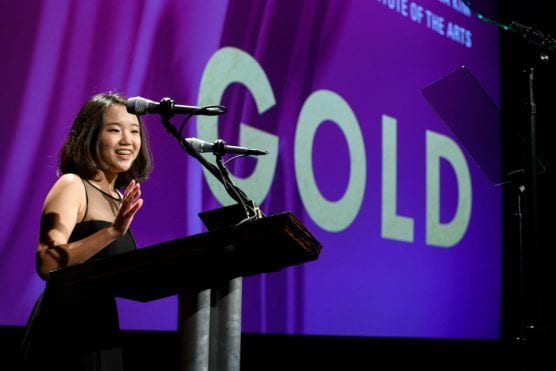 CalArts student Hanna Kim wins gold medal for animation (domestic film schools) at the 45th annual Student Academy Awards. | Image: Richard Harbaugh / ©A.M.P.A.S.