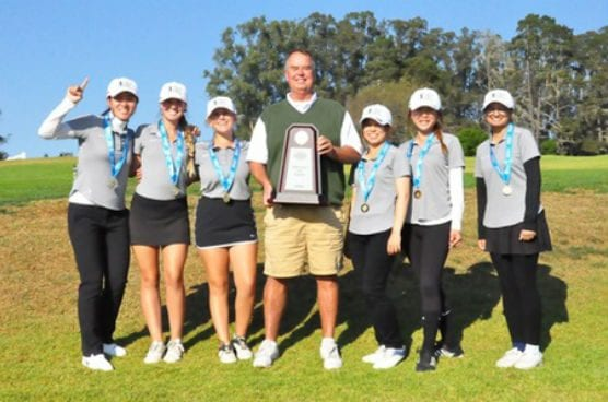 College of the Canyons women's golf won the 2018 CCCAA State Championship with a four-player, 36-hole score of 615 at Morro Bay Golf Course Nov. 11-12. From left to right: Jessie Lin, Paige Heuer, JoJo Roecker, head coach Gary Peterson, Haruka Koda, Gina Chung and Shabana Poswal. —Photo courtesy of CCCAA.