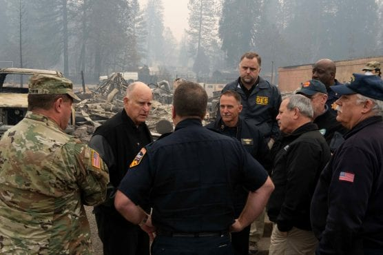 Gov. Jerry Brown surveys Camp Fire damage in the Town of Paradise, Nov. 14, 2018. | Photo: Brad Alexander, Governor's Office of Emergency Services.
