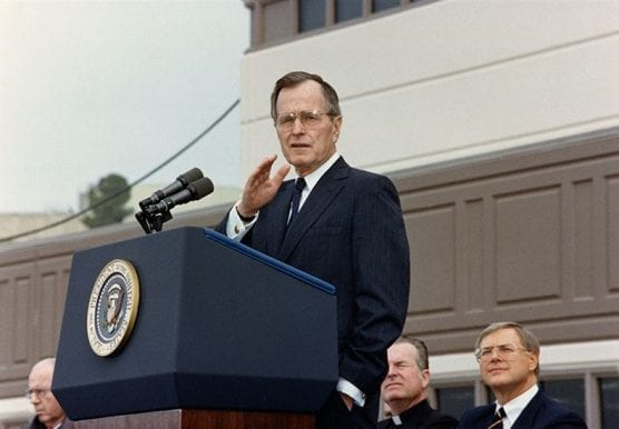 March 1, 1990: President George H.W. Bush speaks at the dedication of the North County Correctional Facility in Castaic.