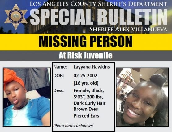missing person layyana hawkins
