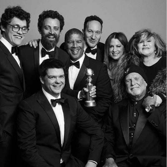 """""""Spider-Man: Into the Spider-Verse,"""" directed by CalArts Character Animation alum Bob Persichetti (Film/Video BFA 96, holding award) with Peter Ramsey and Rodney Rothman, won the top prize for best animated feature at Sunday night's Golden Globes. 
