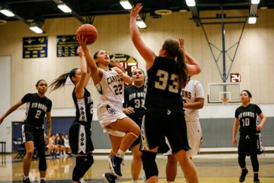 College of the Canyons (13-7) was led by sophomore guard Alexis Orellana who finished with a game-high 26 points including 10 in the overtime period. | Photo: Jacob Velarde/COC Sports Information.