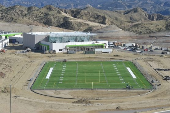 Work continues on the football field and the gymnasium in the distance at Castaic High School in Castaic on Wednesday, Dec. 19, 2018. Dan Watson/The Signal