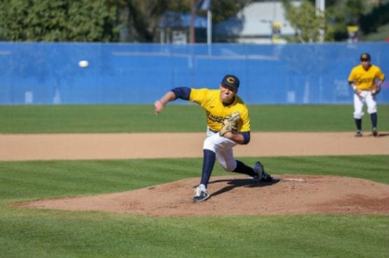 College of the Canyons starting pitcher Chase Farrell pitched the Cougars to their first victory of the 2019 campaign, a 6-2 victory over visiting Allan Hancock College on Thursday at Cougar Field. — Jesse Muñoz/COC Sports Information Director