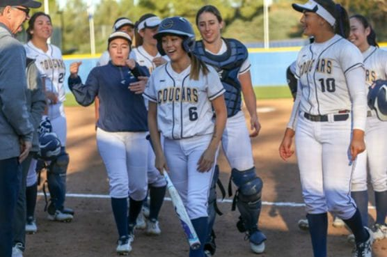 College of the Canyons sophomore Kayla Yamana drove a ball to deep left field in the bottom of the eighth inning to give Canyons the 4-3 extra innings victory over Bakersfield College on Thursday at Whitten Field. | Photo: Jesse Muñoz/COC Sports Information Director.