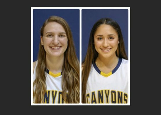 College of the Canyons sophomores Shauna Van Grinsven and Alexis Orellana have been named to the 2018-19 California Community College Women's Basketball Coaches Association Academic All-State Team.