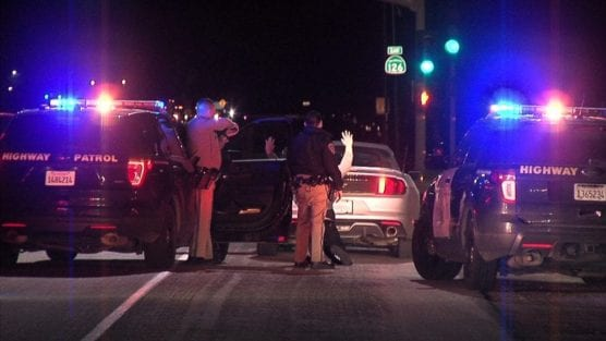 Motorist arrested by officers of the California Highway Patrol following an hour-long chase. Signal photo, Austin Dave.