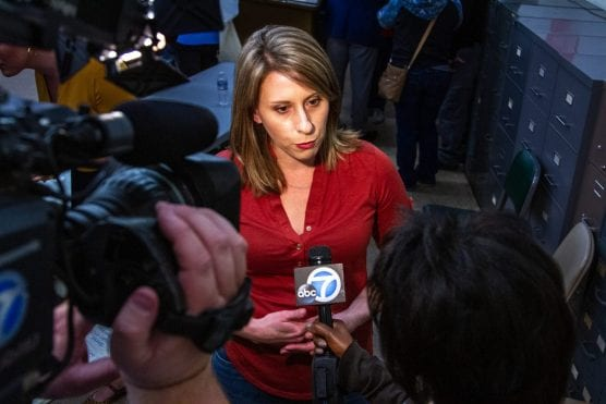 Signal File Photo: Rep. Katie Hill fields questions from KABC's Amy Powell during a town hall event in Palmdale, January 6, 2019. Austin Dave/The Signal