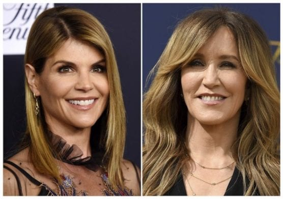 This combination photo shows actress Lori Loughlin on Feb. 27, 2018, left, and actress Felicity Huffman on Sept. 17, 2018. (AP Photo)