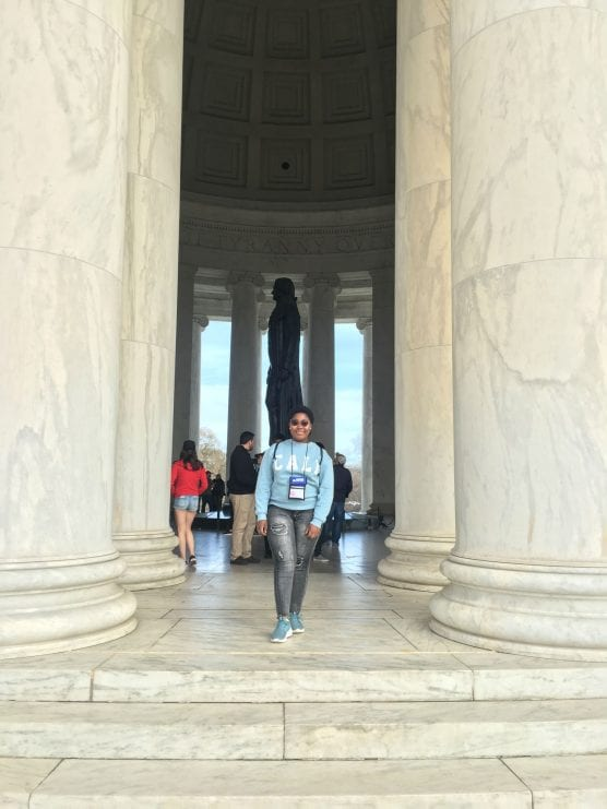 AFS exchange student and U.S. State Department scholarship recipient from South Africa Michelle Hadebe at the Jefferson Memorial in Washington, D.C. as part of Civic Education Week, sponsored by the U.S. State Department. | Photo: Courtesy Michelle Hadebe.