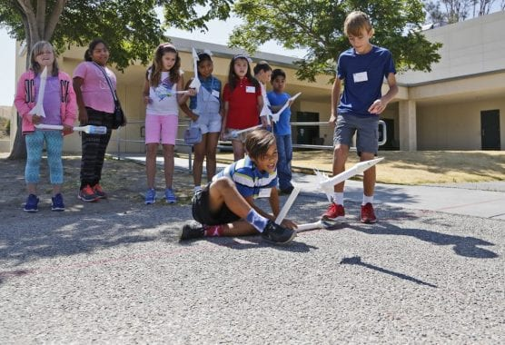 SIGNAL FILE PHOTO: Leona Cox Elementary students test out rockets they built as part of a GATE Academy project on Thursday, June 29, 2017. | Photo: Katharine Lotze/The Signal.