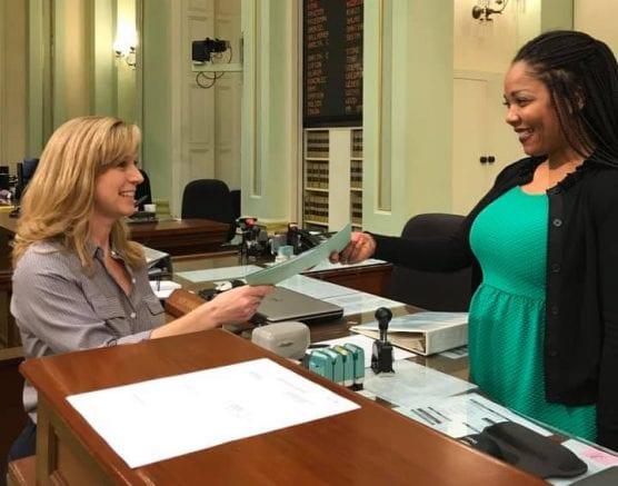 Assemblywoman Christy Smith introduces legislation in Sacramento.