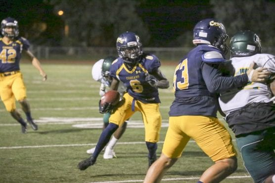 College of the Canyons' Marquise Brown (6) caught 50 passes for 754 yards during the 2016 campaign at COC. | Photo: John Bogna/COC Sports Information.