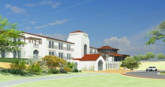 This rendering of the proposed Sand Canyon Resort depicts a two-story, 100-room resort hotel with a wellness center, spa and fitness center on the first floor, and yoga and meditation deck upstairs. | Courtesy photo.