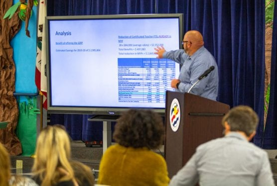 Saugus Union School District Asst. Sup. of Business Nick Heinlein explains analysis of the district's budget to a group of parents and staff at Bridgeport Elementary. Austin Dave/The Signal