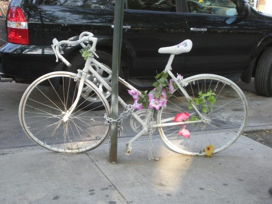 "Loved ones or friends often install a ""ghost bike"" at the site of someone's death in a bicycle crash, like this one in Manhattan. 