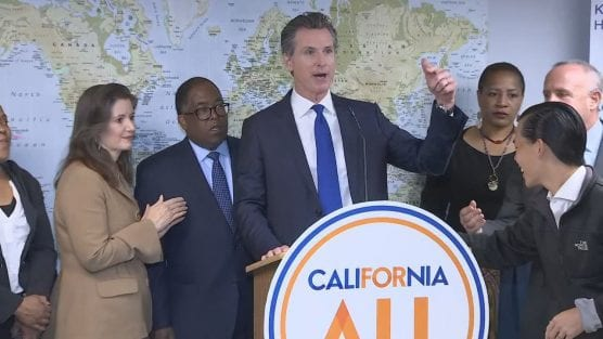 California Gov. Gavin Newsom is creating a task force on homelessness as the state grapples with a housing crisis, May 21, 2019. | KTVU screencap.