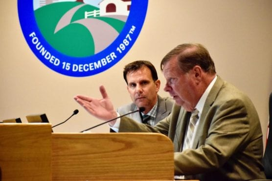 Santa Clarita City Councilmen Bob Kellar (front) and Cameron Smyth comment before their decision to repeal sex offender residency restrictions on Tuesday, May 14, 2019. | Photo: Tammy Murga/The Signal.