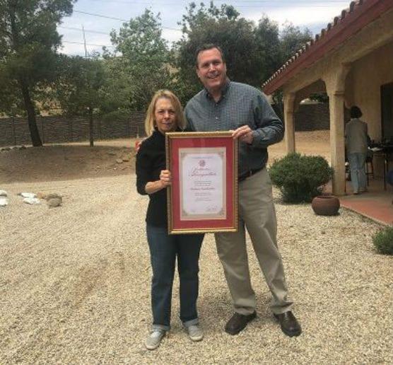 The Brittany Foundation's Nancy Anderson accepts the Non-Profit Appreciation Award from California Senator Scott Wilk, R-Santa Clarita, on Saturday, May 18, 2019.