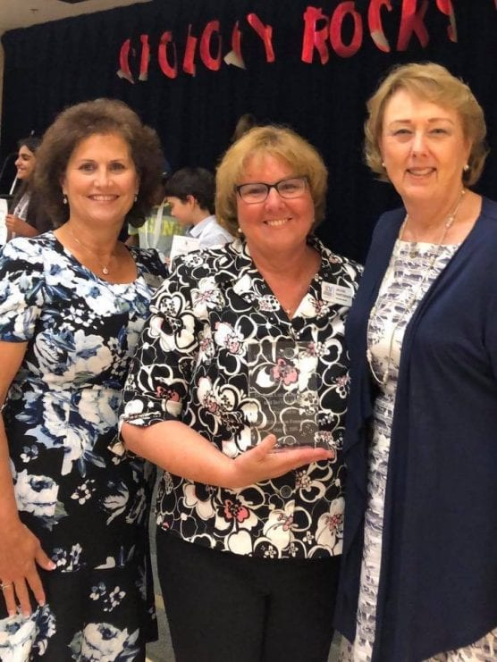 Jackie Hartman, Executive Director of the SCV Education Foundation, receives the inaugural Dr. Joan Lucid Award from Dr. Isa DeAmas, Assistant Superintendent for Education Services (left) and Dr. Lucid (right) on May 14, 2019.