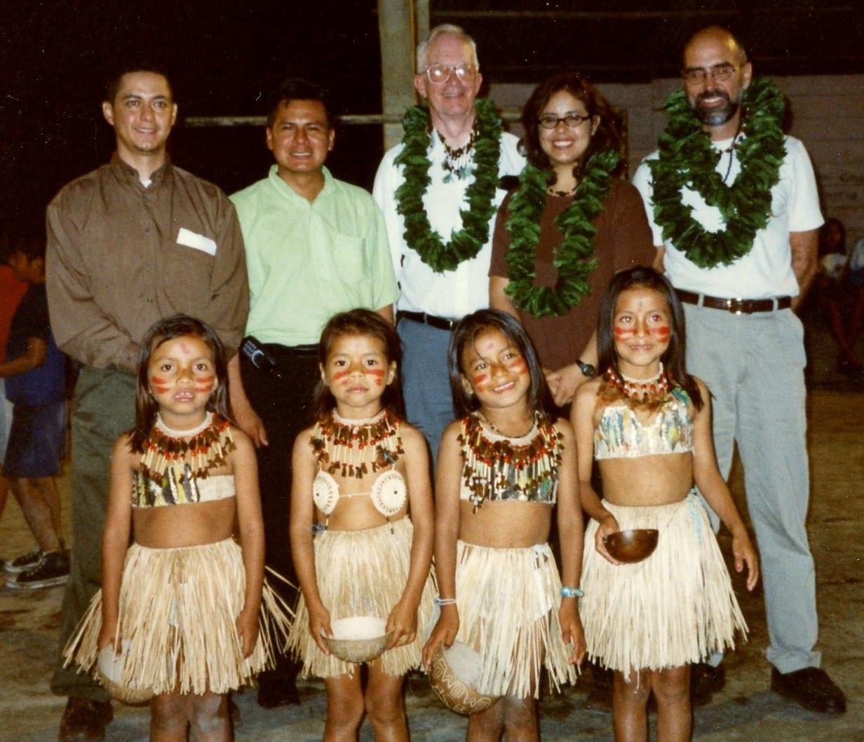 adventures-Tena, Ecuador officials and children welcome Santa Clarita Sister City visitors Carl Boyer, Elena Galvez and Ken Pulskamp in 2001.