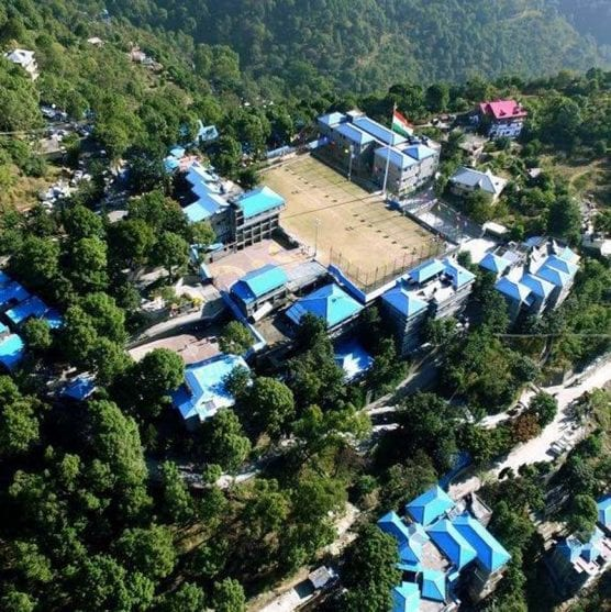 An aerial view of Pinegrove School in northern India.