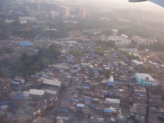 "An aerial view of the slums in Mumbai, depicted in the 2008 movie ""Slumdog Millionaire.""