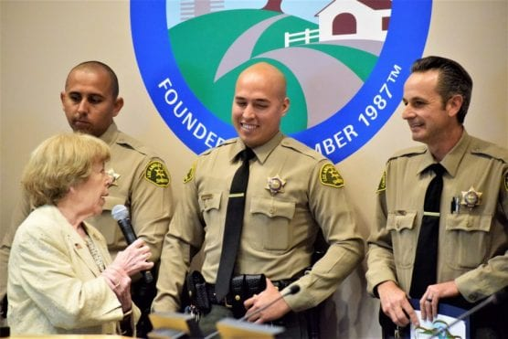 The city of Santa Clarita and Mothers Against Drunk Driving recognized Santa Clarita Valley Sheriff's deputies Mario Acosta, left, Tanner Sanchez and Chris Morgan (right) Tuesday during a City Council meeting. | Photo: Tammy Murga/ The Signal.