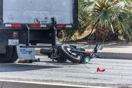 A motorcyclist was injured after a collision with a truck on Sierra Highway between Jakes Way and Soledad Canyon Road in Canyon Country on Tuesday.  | Photo: Cory Rubin/The Signal.