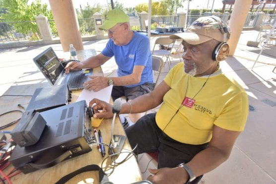 Santa Clarita Amateur Radio Club members Bob Panfil, left, and Cliff Zigler team up during the annual Amateur Radio Field Day held at the Water Conservatory Garden & Learning Center in Saugus on Saturday.   Photo: Dan Watson/The Signal.