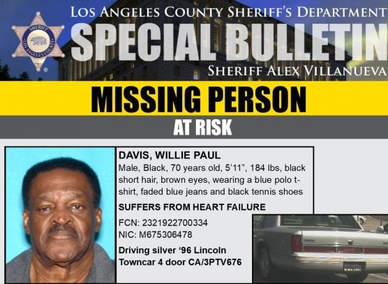 Willie Paul Davis of Valencia is missing.