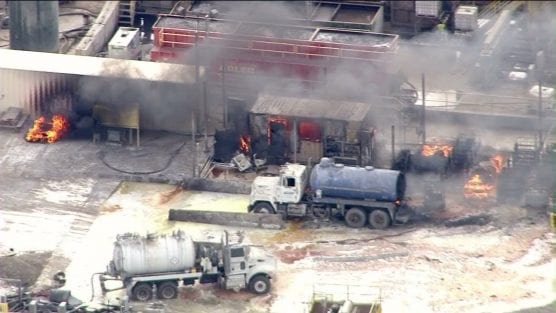 An explosion at the Santa Clarita Waste Water Co. facility in Santa Paula injured more than three dozen people on Nov. 18, 2014. | Photo: KTLA.
