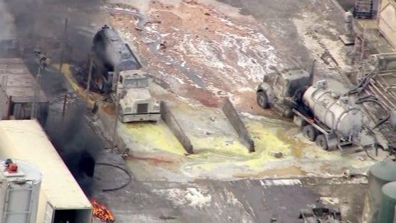 An explosion at the Santa Clarita Waste Water Co. facility in Santa Paula injured more than 30 people on Nov. 18, 2014. | Photo: KTLA.