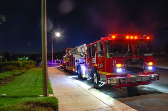 Firefighters rescued a 15-year-old teen who fell down a large cement structure near a trail in Valencia Thursday night. | Photo: Tammy Murga/The Signal.