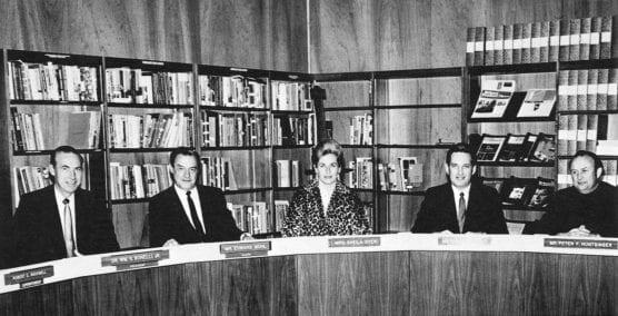 The first Board of Trustees, December 1967: Dr. William G. Bonelli Jr., Edward Muhl, Sheila Dyer, Bruce Fortine and Peter Huntsinger.
