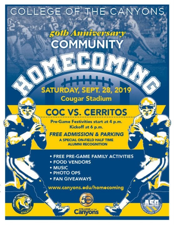 coc 50th anniversary homecoming flyer