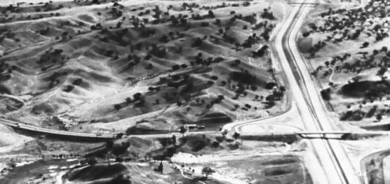 An aerial view looking south in the late 1960s shows the property where College of the Canyons would rise several years later.