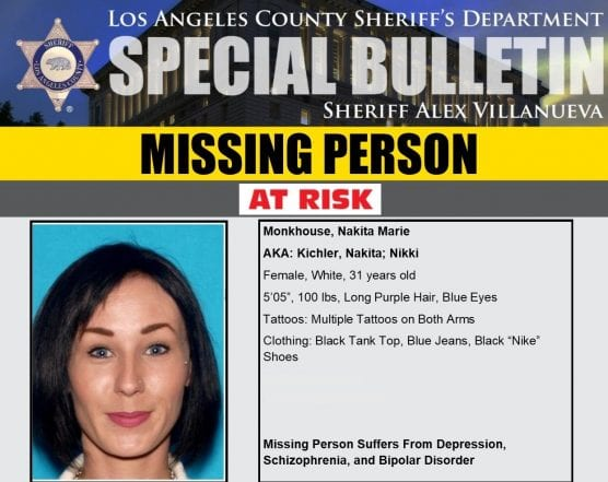 lasd missing person nakita marie monkhouse -- found