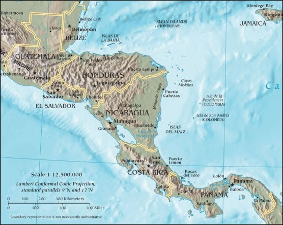 Map of Central America, including Panama