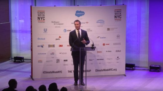 California Governor Gavin Newsom delivers opening remarks at Climate Week NYC on Sept. 23, 2019.