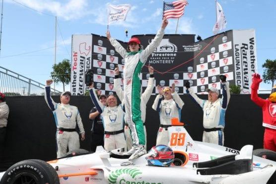 Colton Herta celebrates his win at the Firestone Grand Prix of Monterey at WeatherTech Raceway Laguna Seca Sunday afternoon. | Photo courtesy Chris Jones/IndyCar.